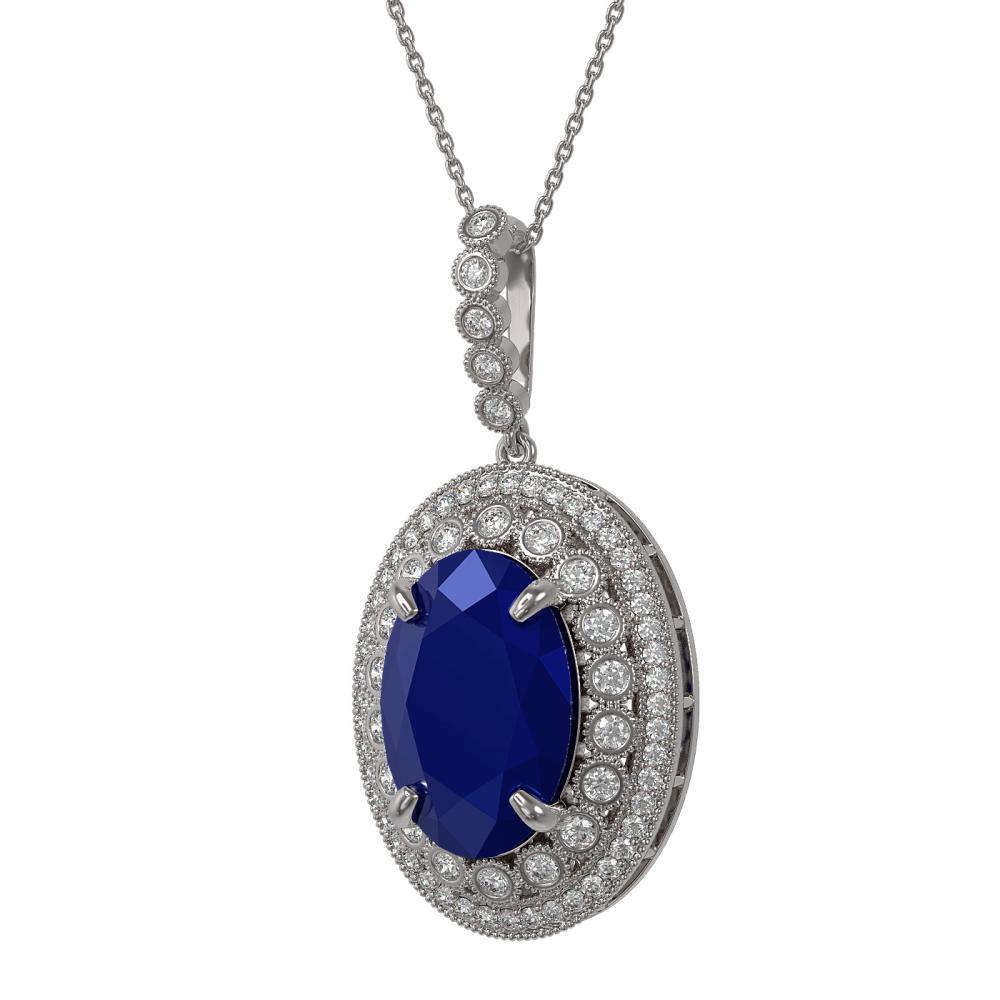 18.25 ctw Sapphire & Diamond Necklace 14K White Gold - REF-314A9V - SKU:43898