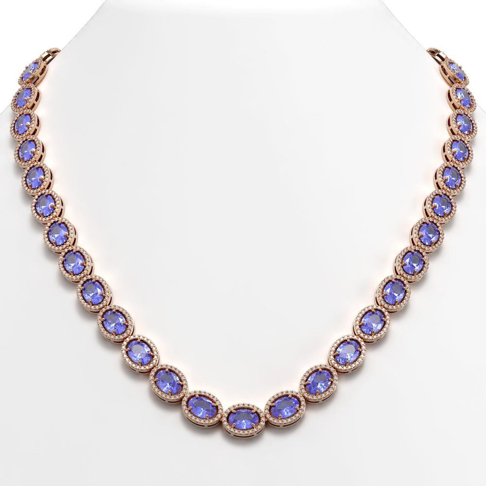 48.65 ctw Tanzanite & Diamond Halo Necklace 10K Rose Gold - REF-797V3Y - SKU:40563
