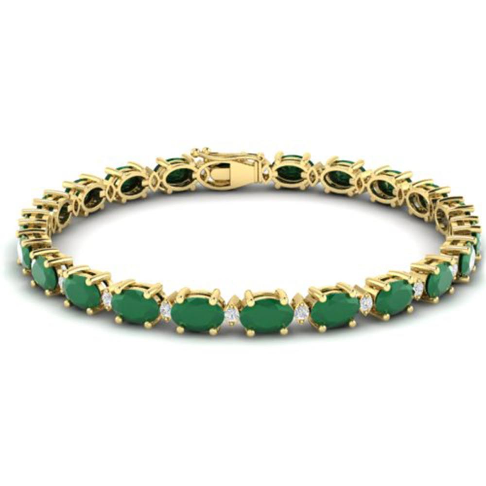 23.5 ctw Emerald & VS/SI Diamond Eternity Bracelet 10K Yellow Gold - REF-161X8R - SKU:29367