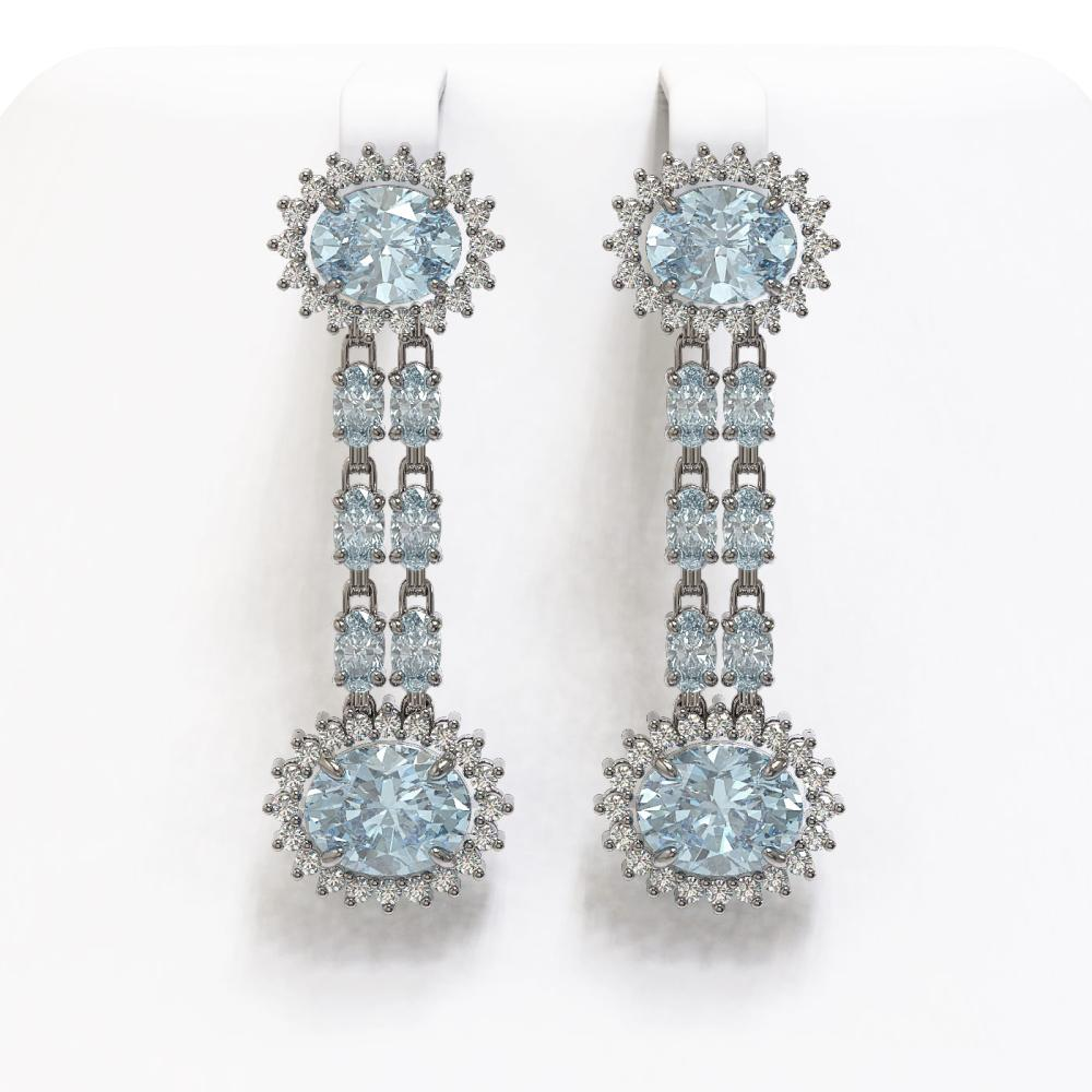 12.82 ctw Sky Topaz & Diamond Earrings 14K White Gold - REF-172K7W - SKU:44483