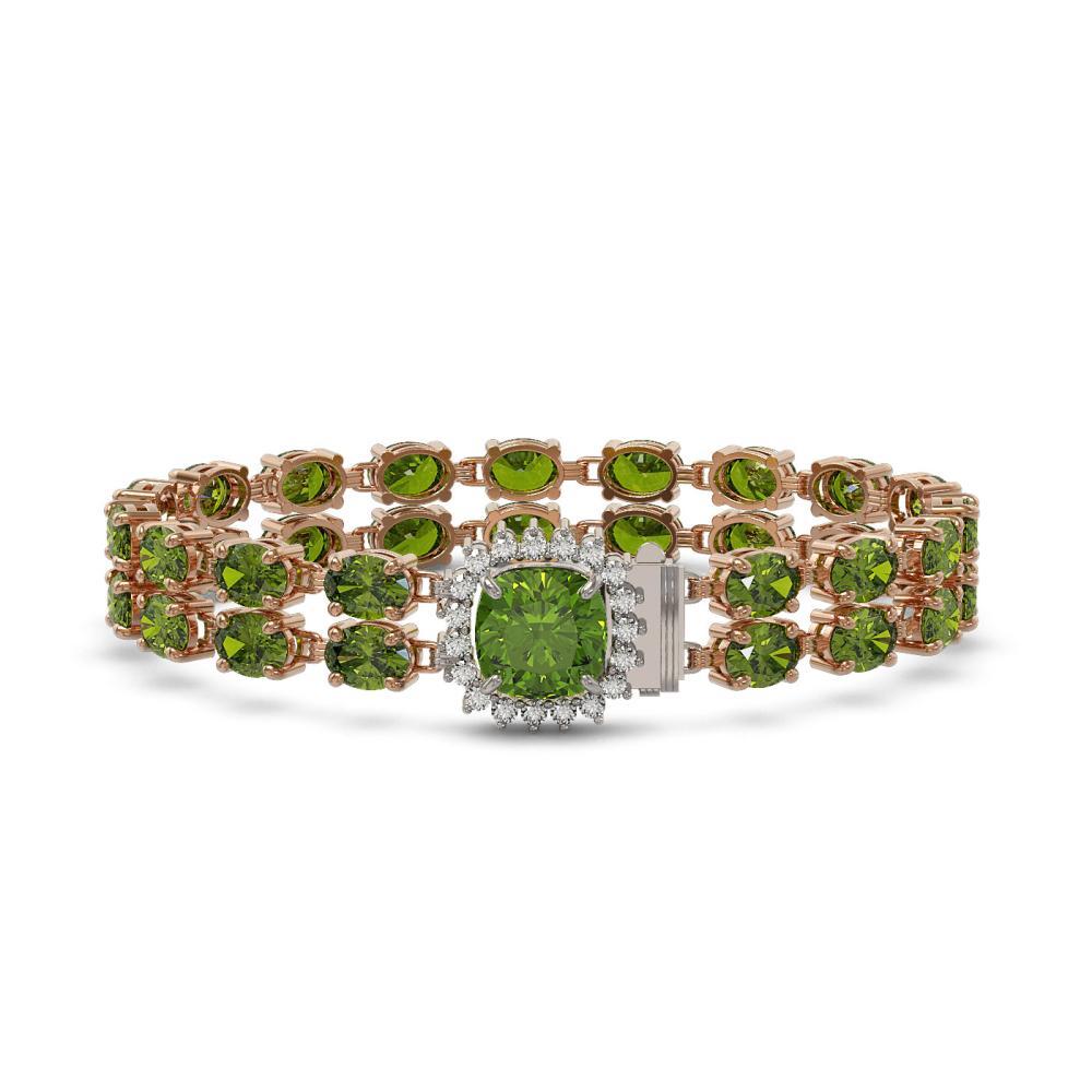 17.35 ctw Tourmaline & Diamond Bracelet 14K Rose Gold - REF-237V8Y - SKU:45615