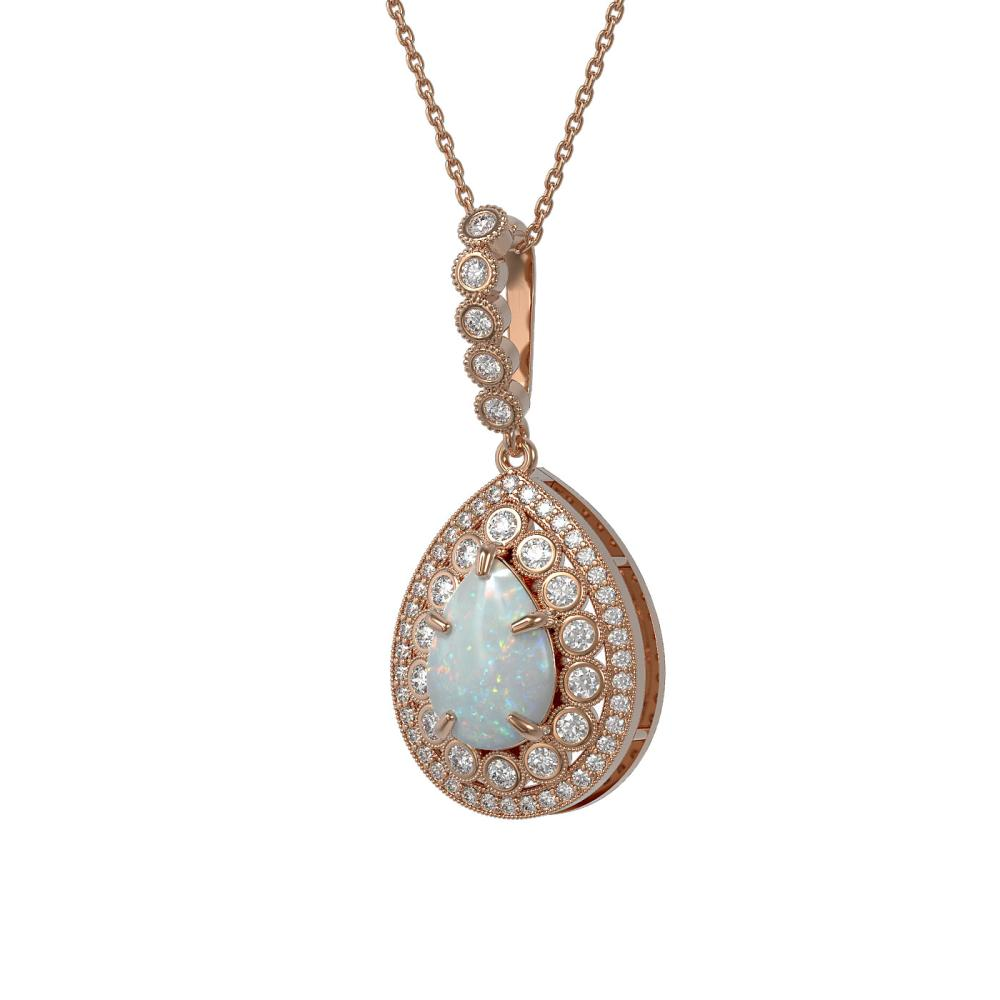 4.14 ctw Opal & Diamond Necklace 14K Rose Gold - REF-139H3M - SKU:43218