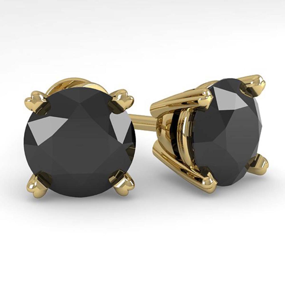 4.0 ctw Black Diamond Stud Earrings 18K Yellow Gold - REF-99N2A - SKU:32326