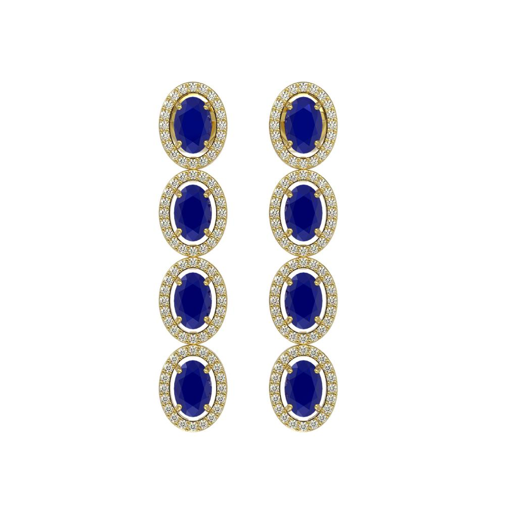 6.47 ctw Sapphire & Diamond Halo Earrings 10K Yellow Gold - REF-125X5R - SKU:40510
