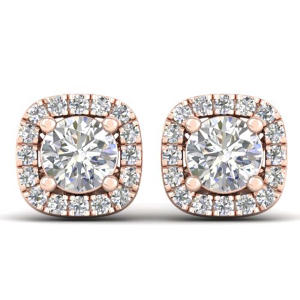 1.08 ctw VS/SI Diamond Stud Halo Earrings 14K Rose Gold - REF-103X3R - SKU:30421