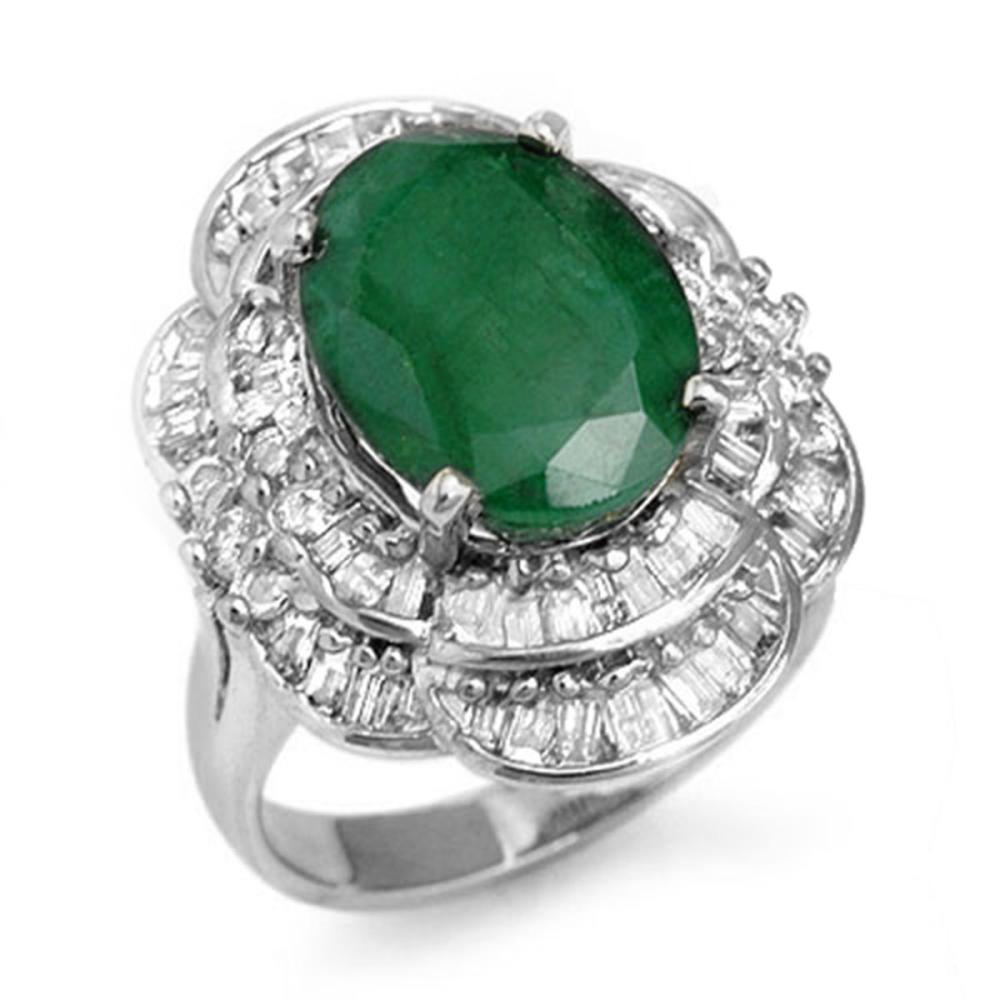 7.04 ctw Emerald & Diamond Ring 18K White Gold - REF-179V3Y - SKU:13100