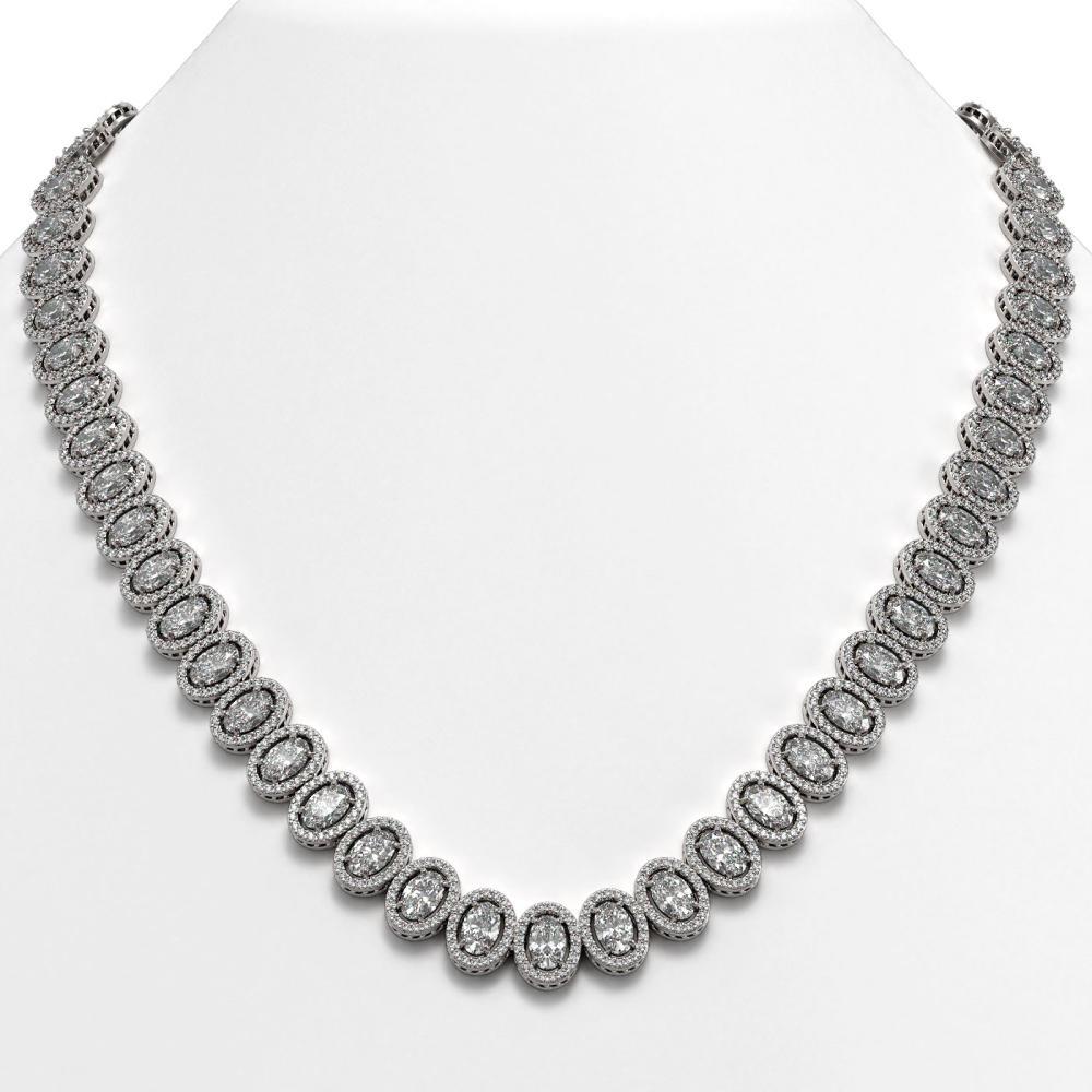 42.56 ctw Oval Diamond Necklace 18K White Gold - REF-5876R9K - SKU:42812
