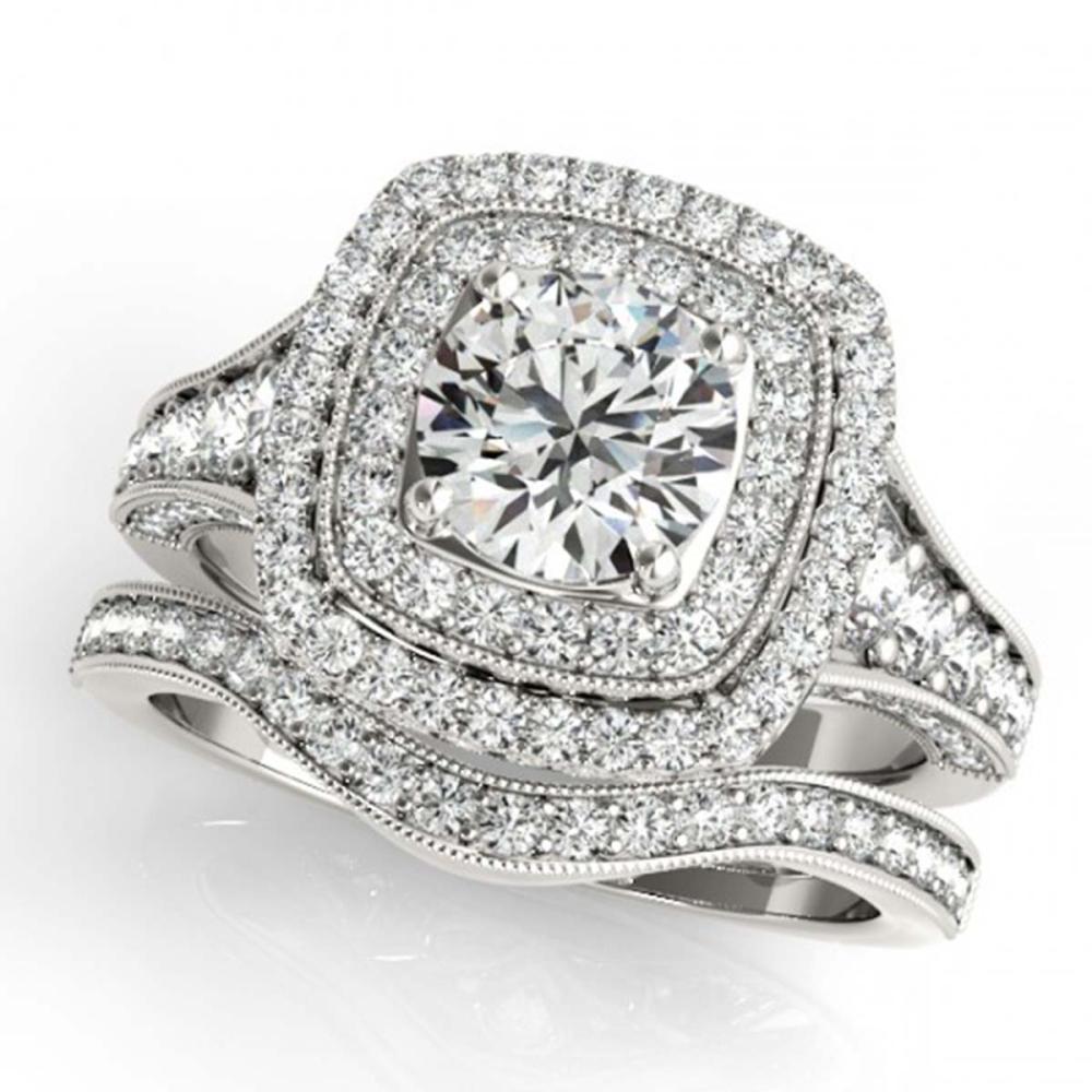 1.93 ctw VS/SI Diamond 2pc Wedding Set Halo 14K White Gold - REF-167V7Y - SKU:30909