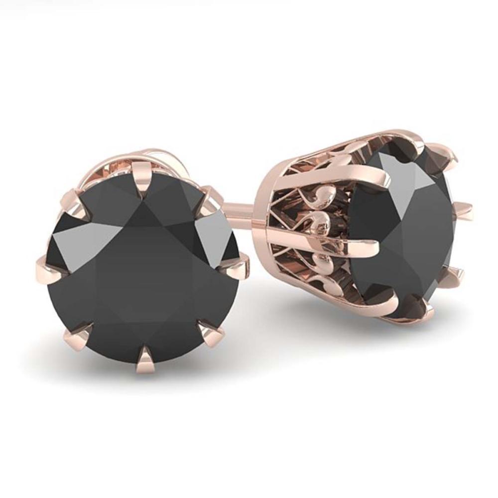 2.0 ctw Black Diamond Stud Solitaire Earrings 18K Rose Gold - REF-73R5K - SKU:35690