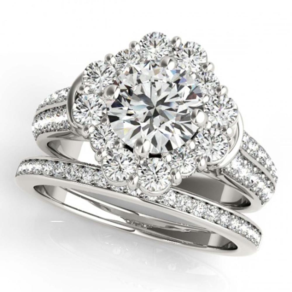 3.03 ctw VS/SI Diamond 2pc Wedding Set Halo 14K White Gold - REF-566F6N - SKU:31109