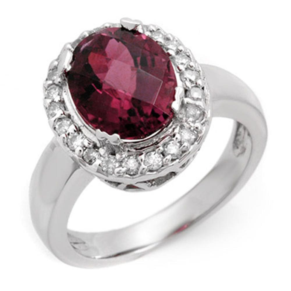 3.40 ctw Pink Tourmaline & Diamond Ring 10K White Gold - REF-89V8Y - SKU:10616