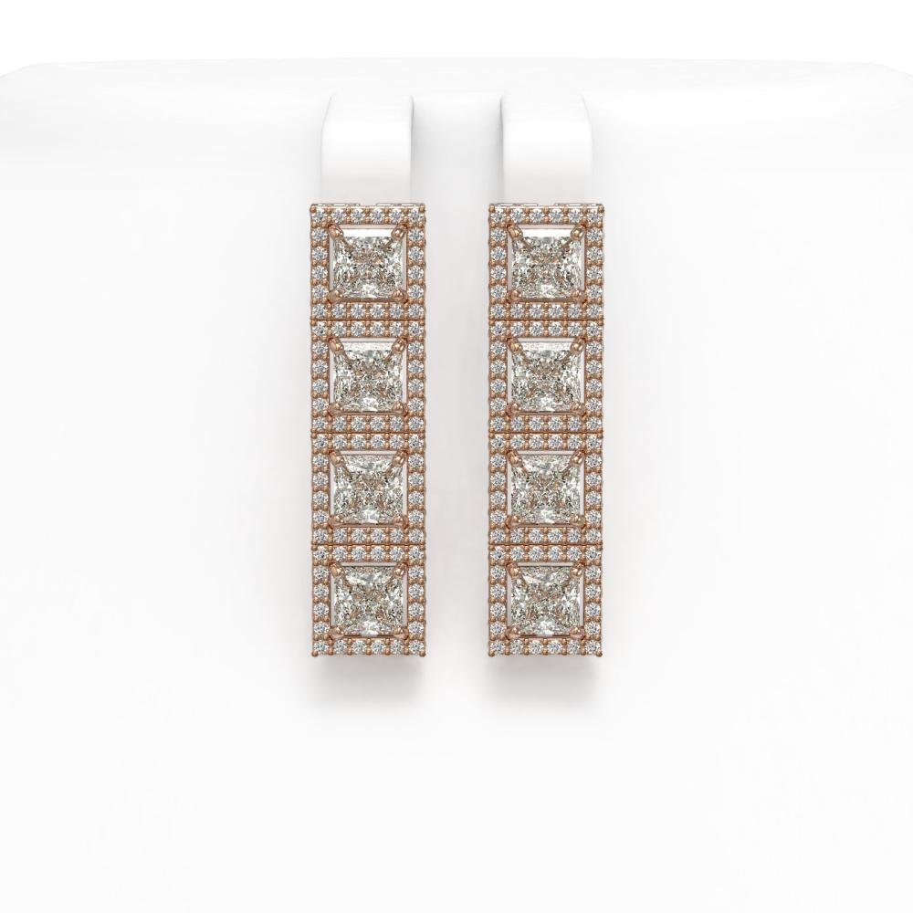 6.08 ctw Princess Diamond Earrings 18K Rose Gold - REF-849A3V - SKU:42729
