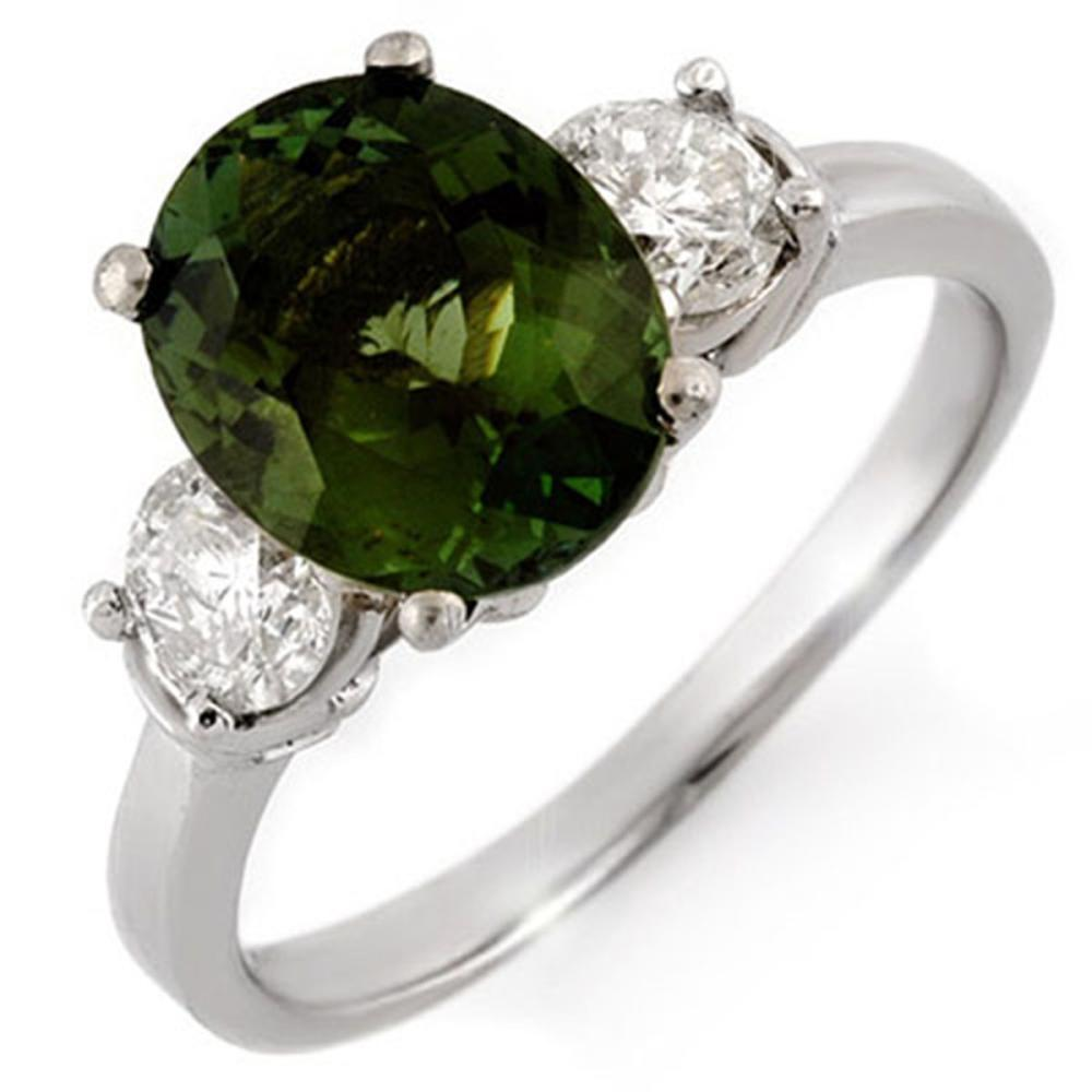 3.25 ctw Green Tourmaline & Diamond Ring 14K White Gold - REF-117W5H - SKU:10092