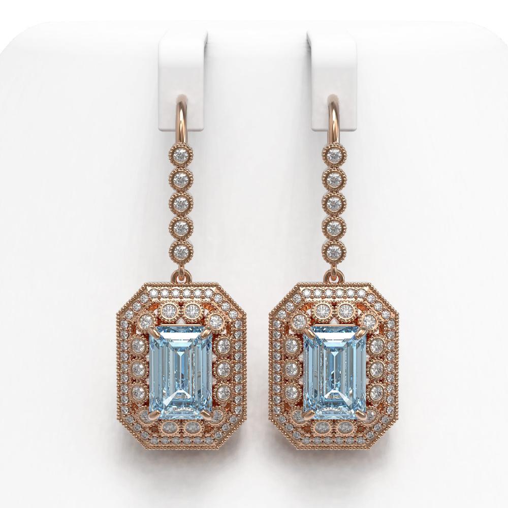11.32 ctw Aquamarine & Diamond Earrings 14K Rose Gold - REF-311X5R - SKU:43401