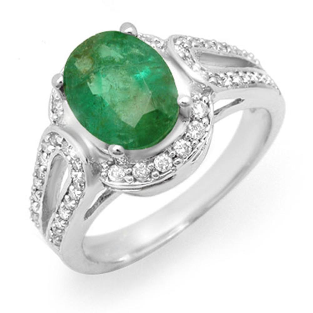 2.50 ctw Emerald & Diamond Ring 10K White Gold - REF-67X3R - SKU:14534