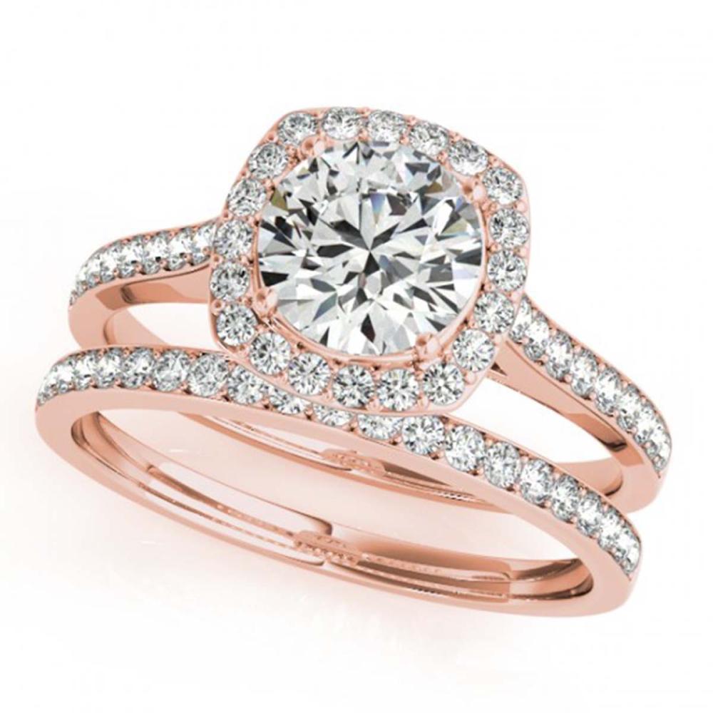 1.12 ctw VS/SI Diamond 2pc Wedding Set Halo 14K Rose Gold - REF-118Y3X - SKU:31212