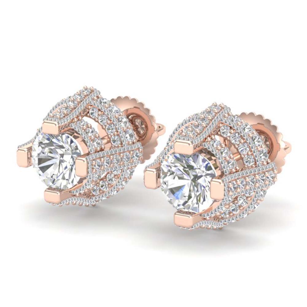 2.75 ctw VS/SI Diamond Stud Earrings 18K Rose Gold - REF-320H2M - SKU:36951
