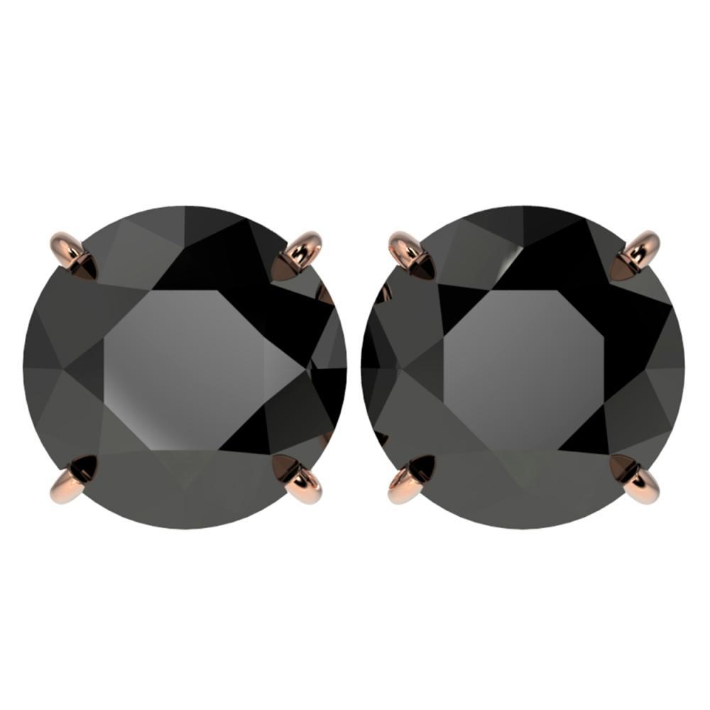 5 ctw Fancy Black Diamond Solitaire Stud Earrings 10K Rose Gold - REF-120N2A - SKU:33146
