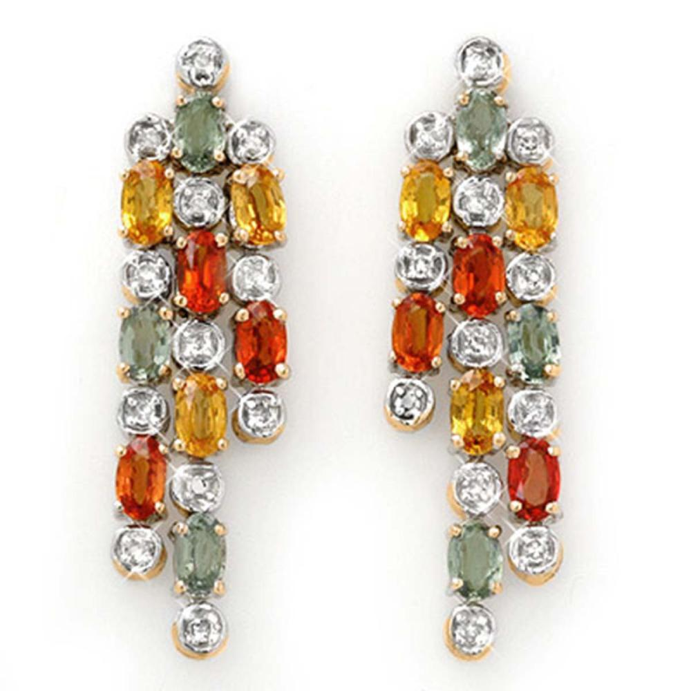 4.08 ctw Multi-Sapphire & Diamond Earrings 14K Yellow Gold - REF-95X3R - SKU:14333