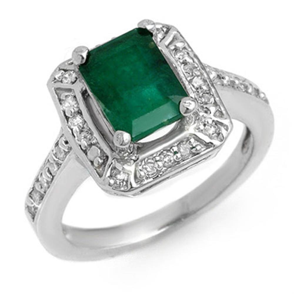 2.40 ctw Emerald & Diamond Ring 14K White Gold - REF-69N3A - SKU:11149