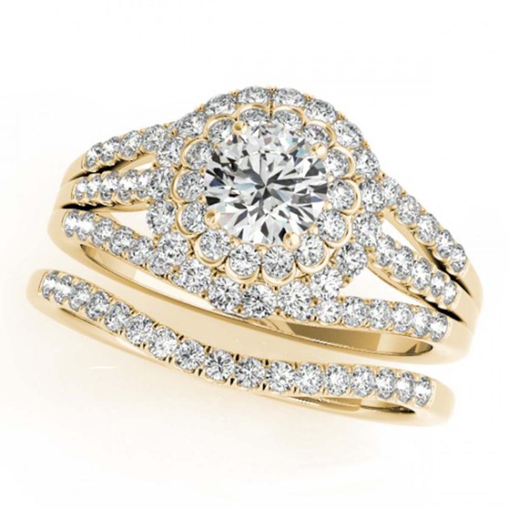 1.41 ctw VS/SI Diamond 2pc Wedding Set Halo 14K Yellow Gold - REF-118M3F - SKU:30983