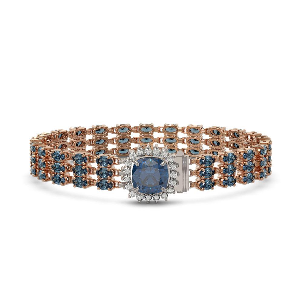 29.89 ctw London Topaz & Diamond Bracelet 14K Rose Gold - REF-268N9A - SKU:45915