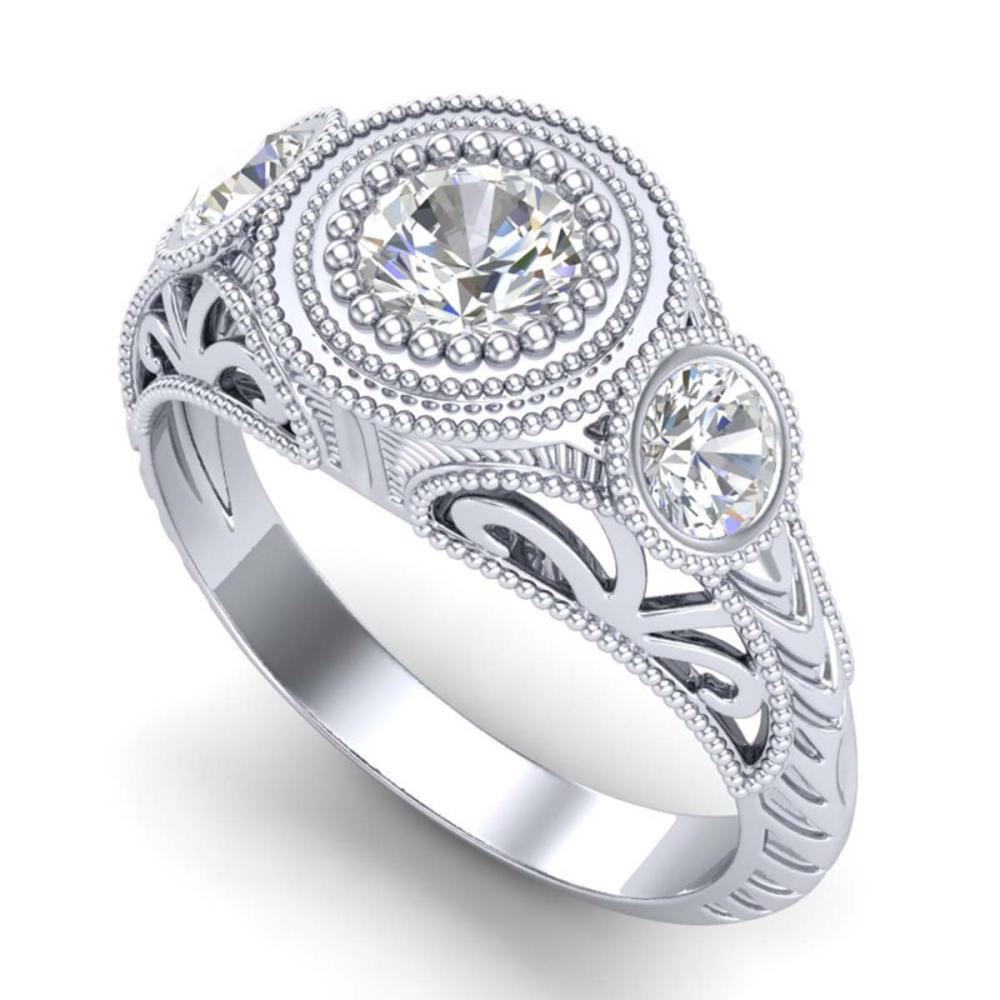 1.06 ctw VS/SI Diamond Solitaire Art Deco 3 Stone Ring 18K White Gold - REF-180R2K - SKU:36893