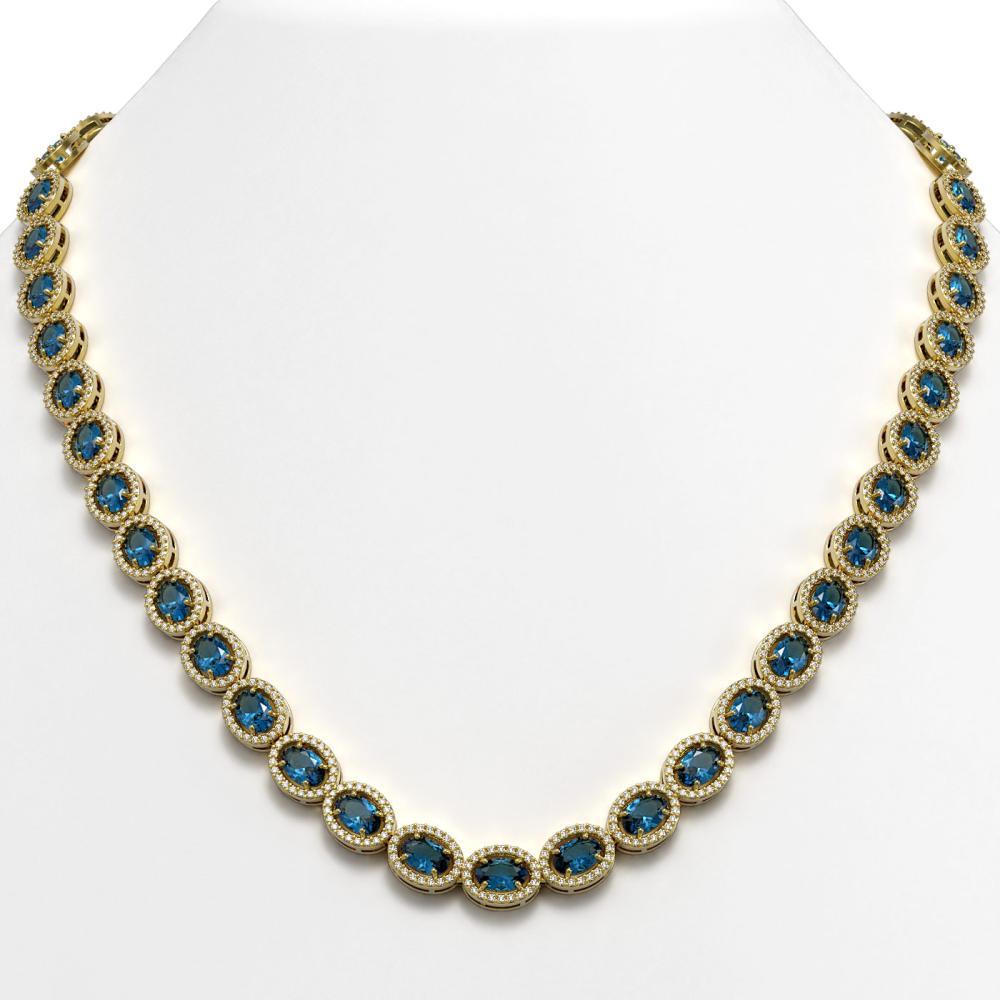 33.25 ctw London Topaz & Diamond Halo Necklace 10K Yellow Gold - REF-511Y3X - SKU:40438