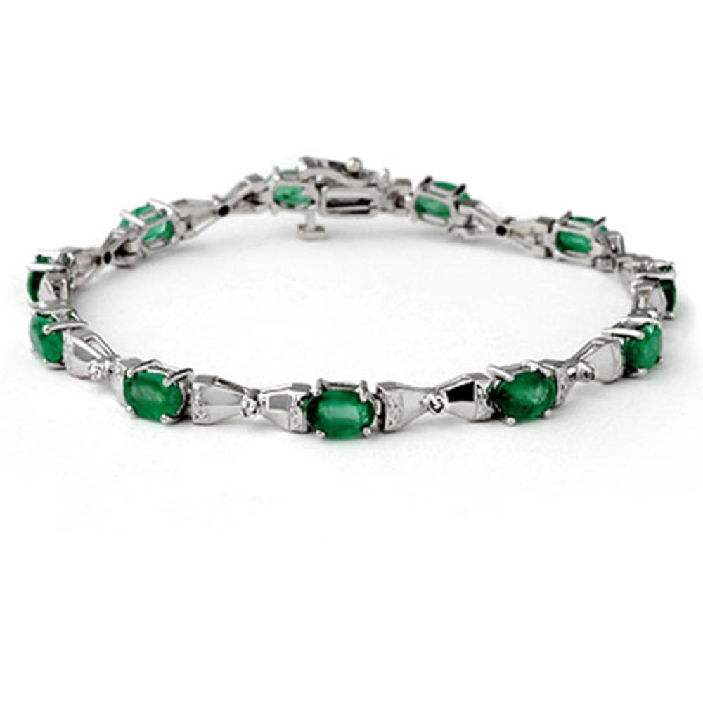 6.11 ctw Emerald & Diamond Bracelet 10K White Gold - REF-105Y5X - SKU:14305
