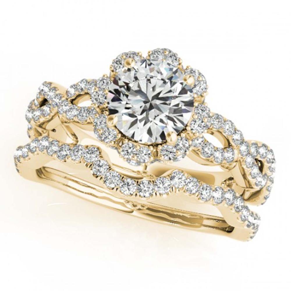 1.93 ctw VS/SI Diamond 2pc Wedding Set Halo 14K Yellow Gold - REF-315M3F - SKU:31186