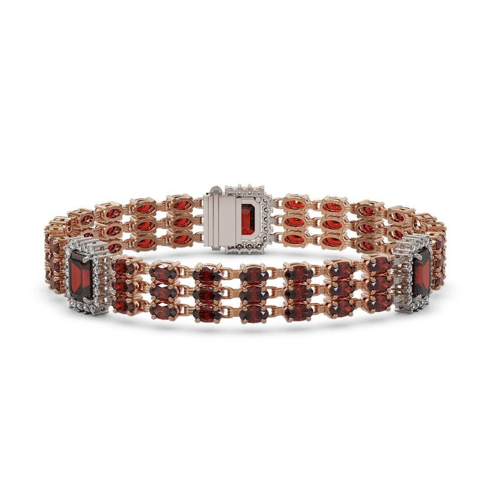 23.08 ctw Garnet & Diamond Bracelet 14K Rose Gold - REF-289R8K - SKU:45411