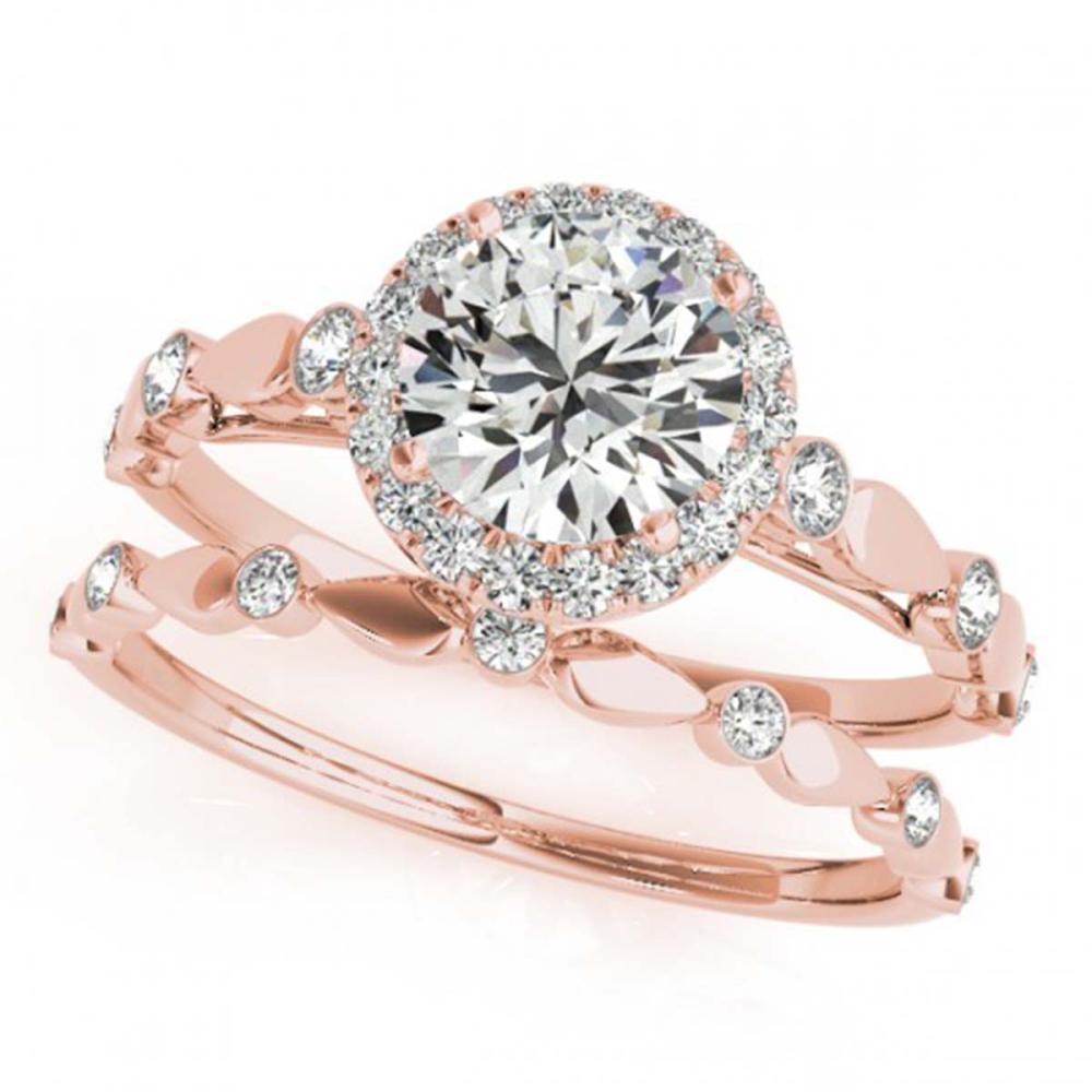 0.86 ctw VS/SI Diamond 2pc Wedding Set Halo Ring 14K Rose Gold - REF-92N7A - SKU:30856