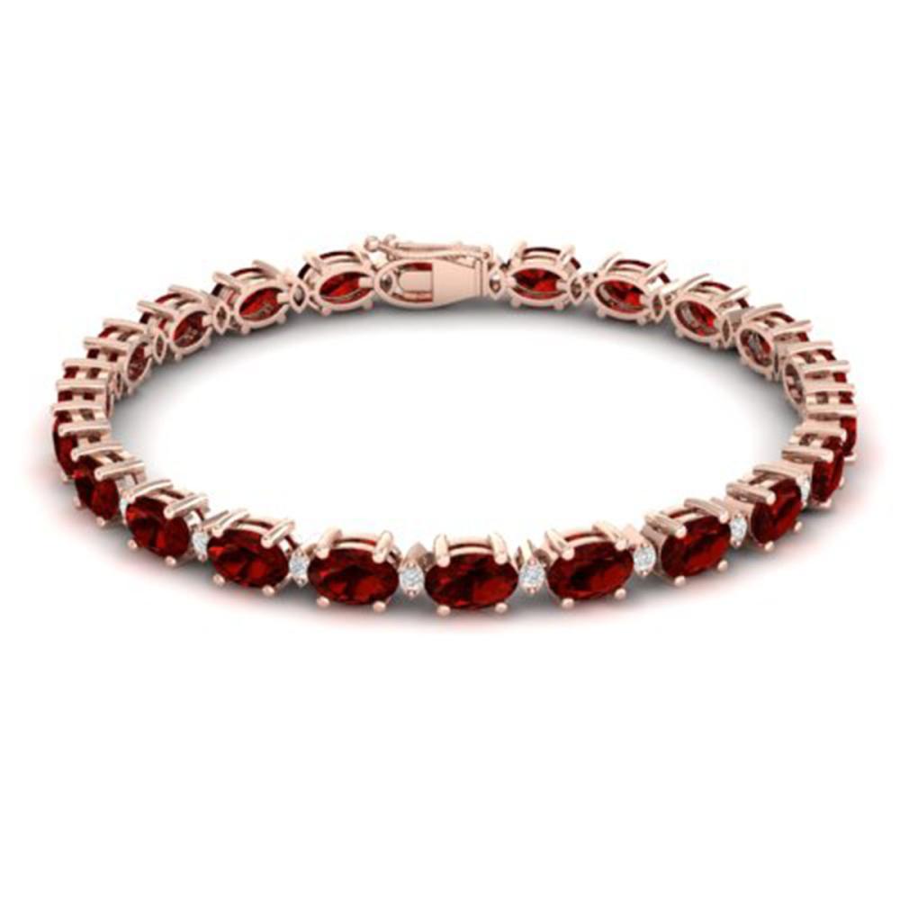 19.7 ctw Garnet & VS/SI Diamond Eternity Bracelet 10K Rose Gold - REF-98Y2X - SKU:29369