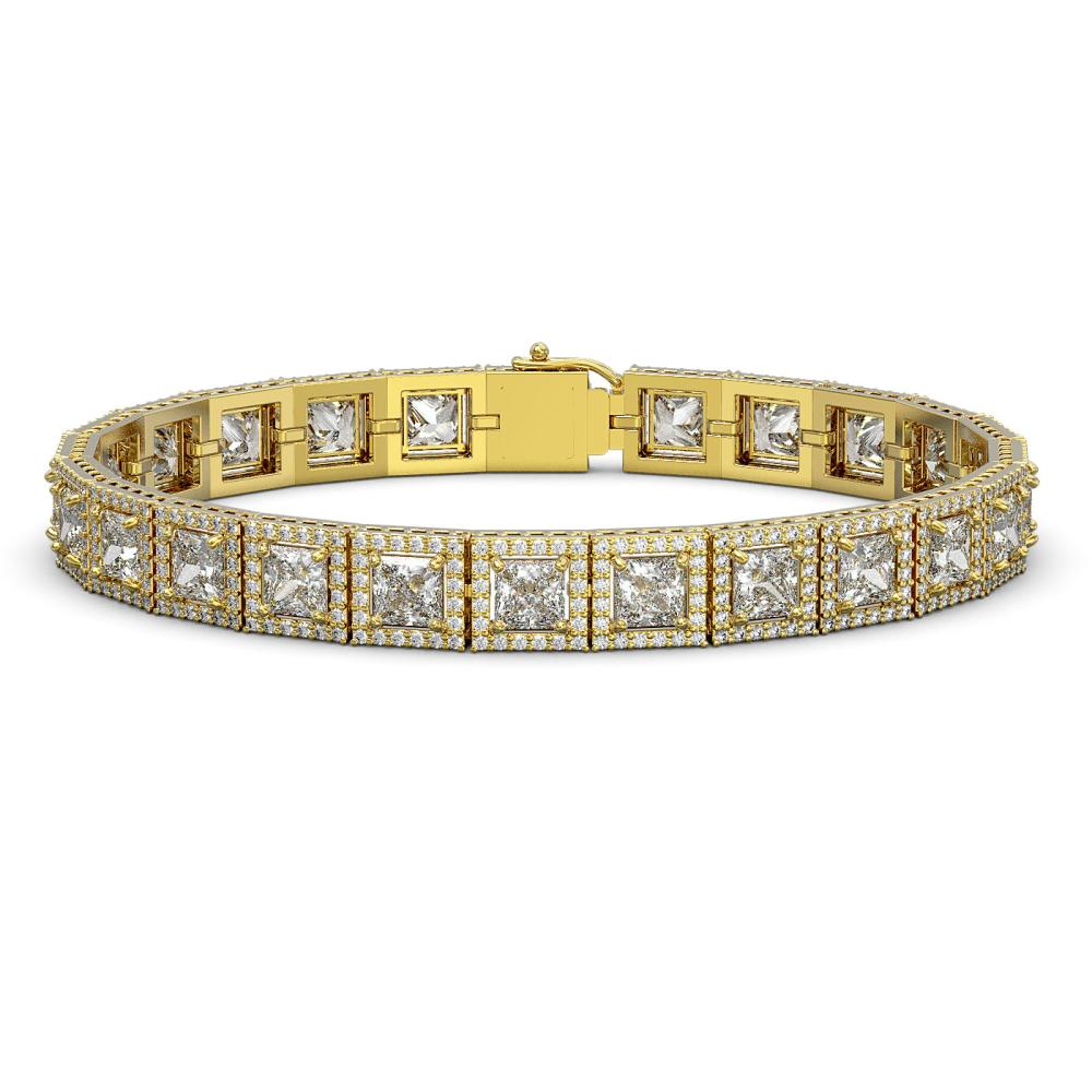 18.24 ctw Princess Diamond Bracelet 18K Yellow Gold - REF-2522A7V - SKU:42727