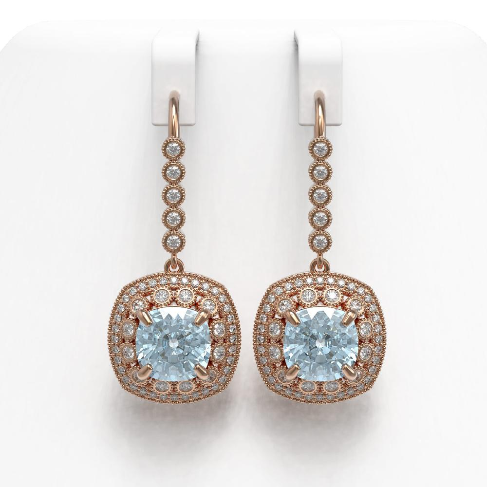 10.5 ctw Aquamarine & Diamond Earrings 14K Rose Gold - REF-293A3V - SKU:43965