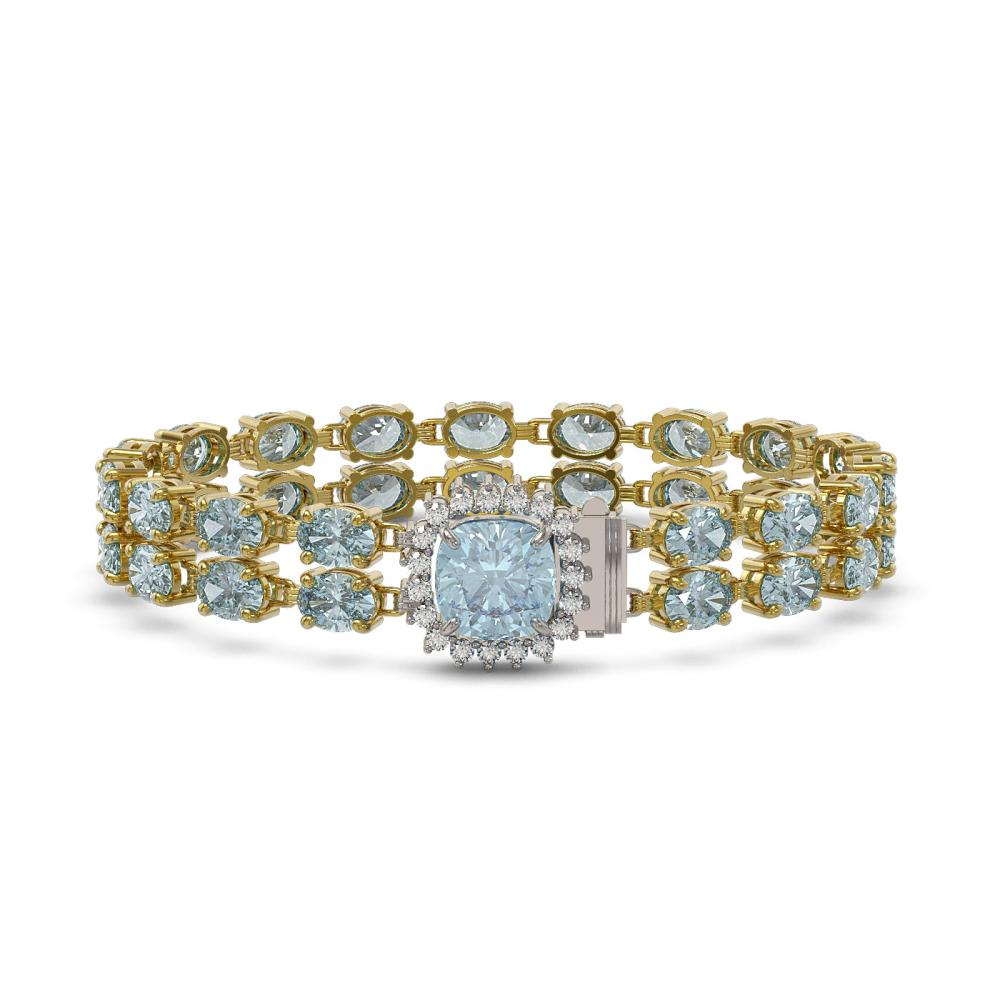 14.93 ctw Aquamarine & Diamond Bracelet 14K Yellow Gold - REF-238V5Y - SKU:45619