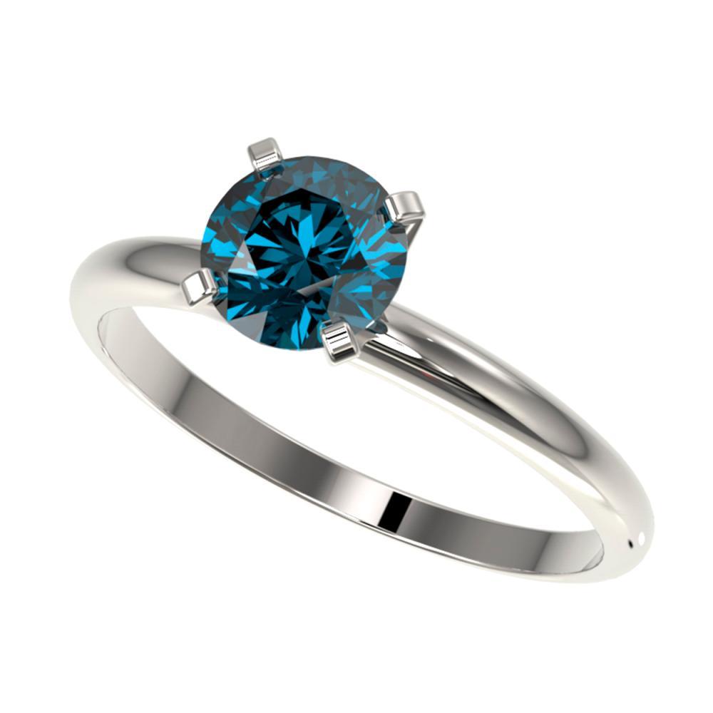 1.05 ctw Intense Blue Diamond Ring 10K White Gold - REF-112Y5X - SKU:36414