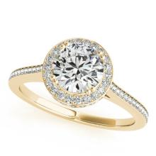 1.55 CTW Certified VS/SI Diamond Bridal Solitaire Halo Ring 18K Yellow Gold - REF#-412M5F-26367