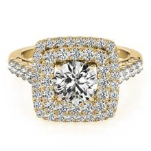 2.05 CTW Certified VS/SI Diamond Bridal Solitaire Halo Ring 18K Yellow Gold - REF#-447F8V-27104