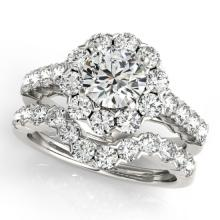 3.36 CTW Certified VS/SI Diamond 2pc Wedding Set Solitaire Halo 14K Gold - REF#-476A5X-30822