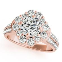 2.16 CTW Certified VS/SI Diamond Bridal Solitaire Halo Ring 18K Rose Gold Gold - REF#-440M5R-26710