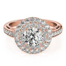 2.25 CTW Certified VS/SI Diamond Bridal Solitaire Halo Ring 18K Rose Gold Gold - REF#-481K5W-26881