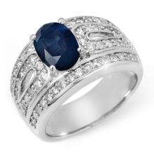 2.44 ctw Blue Sapphire & Diamond Ring 18K White Gold - REF#-145X3T-11826