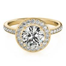 1.65 CTW Certified VS/SI Diamond Bridal Solitaire Halo Ring 18K Yellow Gold - REF#-576K5W-26990