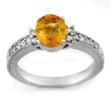 2.42 ctw Yellow Sapphire & Diamond Ring 14K White Gold - REF#-52F9V-11270