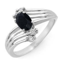0.65 ctw Blue Sapphire & Diamond Ring 18K White Gold - REF#-38N4A-13104