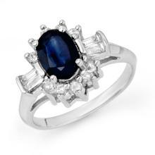 2.33 ctw Blue Sapphire & Diamond Ring 18K White Gold - REF#-70K9W-13159