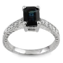 2.65 ctw Blue Sapphire & Diamond Ring 14K White Gold - REF#-38F9V-11446