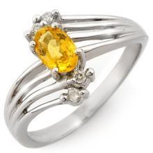 0.80 ctw Yellow Sapphire & Diamond Ring 18K White Gold - REF#-41A5X-10548