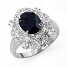 3.20 ctw Blue Sapphire & Diamond Ring 18K White Gold - REF#-78M5F-13140